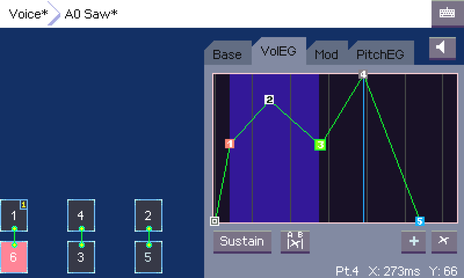 Screenshot of the graphical enveloppe for volume