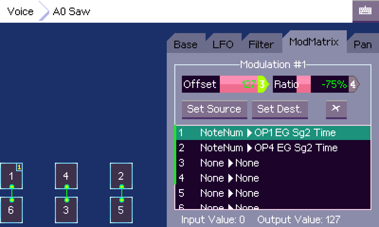Screenshot of the modulation matrix